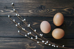 Easter egg in the nest on rustic wooden background. Easter eggs in the nest on rustic wooden background. Selective soft focus Royalty Free Stock Photo