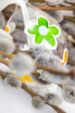 Easter egg in the nest with twigs of willow Royalty Free Stock Image