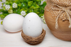 Easter egg in a nest Stock Images