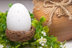Easter egg in a nest Royalty Free Stock Images