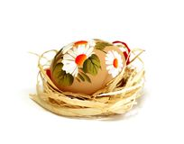 easter egg with ornament isolated on white Royalty Free Stock Photos