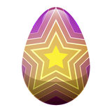 Easter Egg with Ornamental Lines and Yellow Stars stock illustration