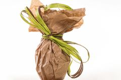 Easter egg packed in craft paper with green stripe on white background. Studio shot royalty free stock images
