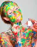 Easter egg paint person Royalty Free Stock Image