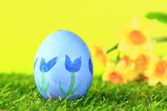 Easter egg painted with floral motif Stock Image