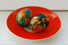 Easter egg, painted green beautiful and colorful Stock Photo