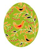 Easter egg with a painted pattern. Birds on branches with berries and leaves. The symbol of Easter. An ancient tradition of people vector illustration