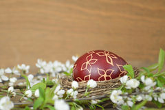 Easter egg painted with wax Stock Photos