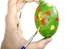 Easter egg painting Royalty Free Stock Images