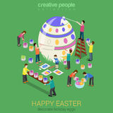 Easter egg painting micro people flat 3d isometric concept Stock Images