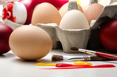 Easter Egg Painting Preparation Stock Image
