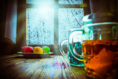 Easter egg painting winter landscape outside window Royalty Free Stock Photography