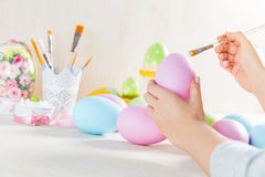 Easter egg painting in a workshop Royalty Free Stock Images