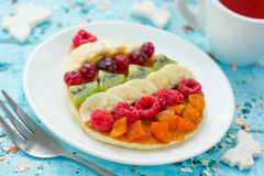 Free Easter Egg Pancakes With Fruit And Berry For Easter Royalty Free Stock Photo - 87874135