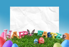 Easter egg and paper frame Stock Image