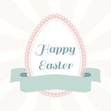 Easter egg from paper with ribbon. Vintage greeting card Stock Photo
