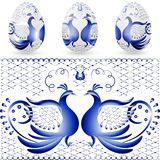 Easter egg with a pattern of stylized gzhel. Blue bird. Royalty Free Stock Photography