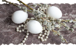 Easter Egg, pearl, and willow branch Royalty Free Stock Photos