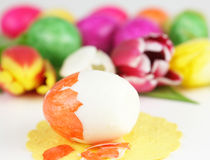 Easter egg is peeled Stock Photo