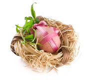 Easter egg with pink bow in nest Stock Photography