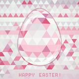Easter egg pink crystall triangle greeting card Stock Images