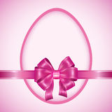 Easter egg with pink ribbon. Celebratory background for holiday Easter. Invitation or greeting card. Vector illustration Stock Photo