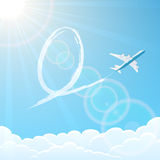 Easter egg and plane in the sky Stock Images
