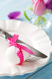 Easter egg on a plate Stock Images