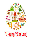 Easter egg poster with cartoon holiday symbols Royalty Free Stock Photography