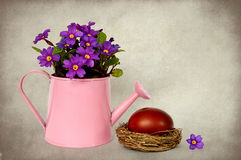 Easter egg and primrose flowers arranged in watering bucket Stock Images