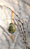 Easter egg on pussy willow. Easter egg on pussy willlow branch Stock Photo