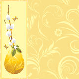 Easter egg and pussy willow branch. Background Royalty Free Stock Photo