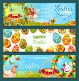 Easter egg and rabbit cartoon banner set design. Easter egg and rabbit cartoon banner set. Patterned eggs and bunny on green grass with chicken, egg hunt basket Royalty Free Stock Image