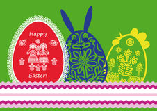 Easter egg, rabbit and chicken Royalty Free Stock Photography