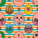 Easter egg rabbit cute seamless pattern Stock Images