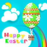 Easter egg. The rabbit flies in a balloon in the form of an Easter egg Royalty Free Stock Photos