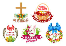 Easter egg, rabbit, flowers cartoon emblem set Stock Photo