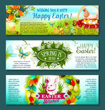 Easter egg, rabbit and flowers festive banner set. Easter spring holiday banner set. Easter egg in green grass, egg hunt basket, rabbit bunny with ribbon Royalty Free Stock Photography