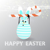 Easter. Egg-rabbit funny with faces illustration Stock Photos