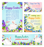 Easter egg and rabbit greeting banner template Royalty Free Stock Images