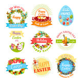 Easter egg and rabbit icon set for holiday design Royalty Free Stock Image