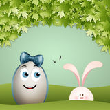 Easter egg with rabbit Stock Photos