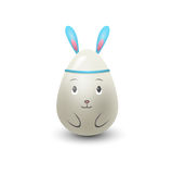 Easter egg rabbit painted with spring pattern vector illustration. Stock Images