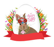 Easter egg and rabbit poster with label Royalty Free Stock Image