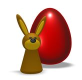 Easter egg. Rabbit and easter egg on white background - 3d illustration Royalty Free Stock Photography