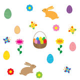 Easter egg and rabbit on white background Stock Photo