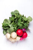 Easter egg radishes on a white board. Bunch of organically grown, freshly harvested, colorful Easter egg radishes, isolated over white board, close up Stock Image