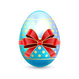 Easter egg with red bow Royalty Free Stock Photo