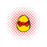 Easter egg with a red bow icon, comics style Royalty Free Stock Photo