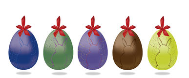 5 Easter egg with red ribonn and bunny Royalty Free Stock Photo